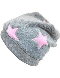 WOLLHUHN Warme Beanie-Mütze in grau mit rosafarbenen Sternen für Mädchen, 54110527