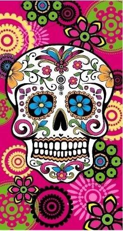 Regalitostv (Calavera Tatoo Rosa) Day of The Dead* Toalla Playa Grande 95 X 175 CM Tacto Terciopelo 100% Microfibra (300g) (Calavera Tatoo Rosa)
