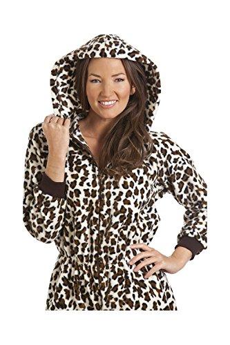 Combinaison pyjama à capuche en polaire - imprimé léopard des neiges - femme - taille 38 à 68 Marron