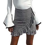 F.lasches Damen Streifen Rock mit Volant A-Linie Asymmetrisch Hohe Taille eng Minirock Bleistiftrock