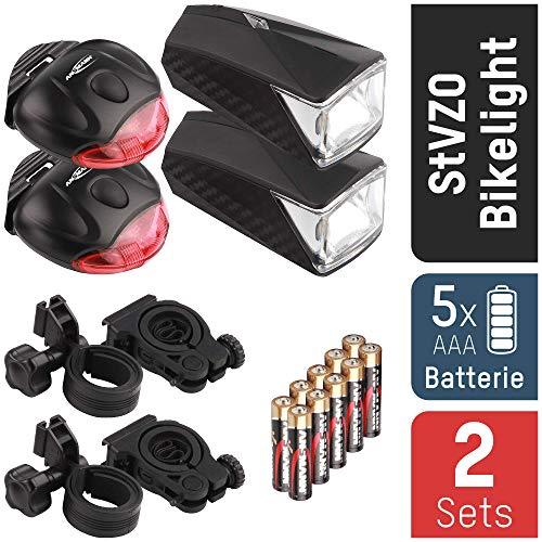 ANSMANN StVZO Fahrradlicht LED Beleuchtungsset mit Frontlicht & Rücklicht 2er Pack - Fahrradlampe batteriebetrieben - zugelassen & abnehmbar - Beleuchtung für Fahrrad, Mountainbike, eBike, Rennrad