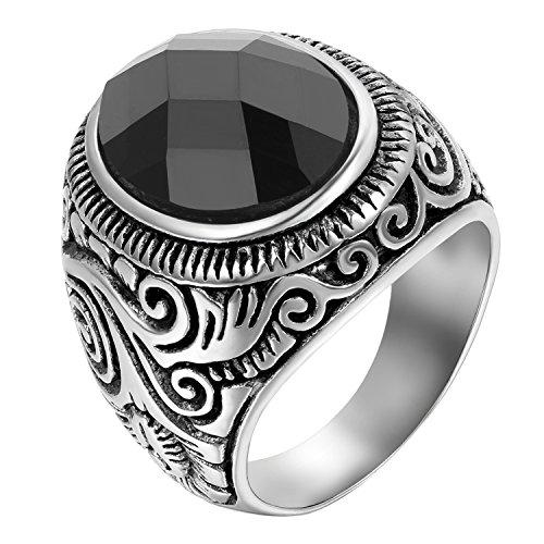 JewelryWe Schmuck Herren-Ring, Klassiker Retro Charm Schnitzerei, Edelstahl Glas, Schwarz Silber - Größe 65