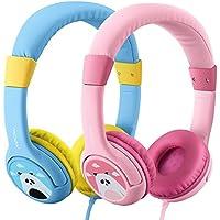 2 Pack Mpow Casque Audio Enfant Limiteur de Volume avec Function de Partager Musique et Microphone pour iPad iPod Tablettes iPhone Ordinateurs PORTABLEs Android Smartphones PC Ordinateur,18 Mois Garantie