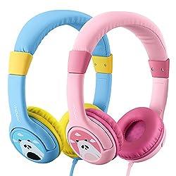 2 Stück: Blau & Rosa - Mpow Kopfhörer Kinder, Kopfhörer für Kinder mit 85dB Lautstärke Begrenzung Gehörschutz & Musik-Sharing-Funktion, Kinderfreundliche sichere Lebensmittelqualität