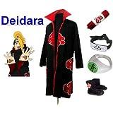 Naruto Akatsuki Deidara Cosplay Kostüm Set (Akatsuki Cloak,Größe:L: Höhe 169cm-176cm + Deidara Stirnband + Deidara Ring + Naruto Federmäppchen + Ninja Schuhe)