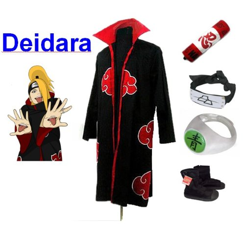 Naruto Akatsuki Deidara Cosplay Kostüm Set (Akatsuki Cloak,Größe:L: Höhe 169cm-176cm + Deidara Stirnband + Deidara Ring + Naruto Federmäppchen + Ninja Schuhe) (Naruto Cosplay Schuhe)
