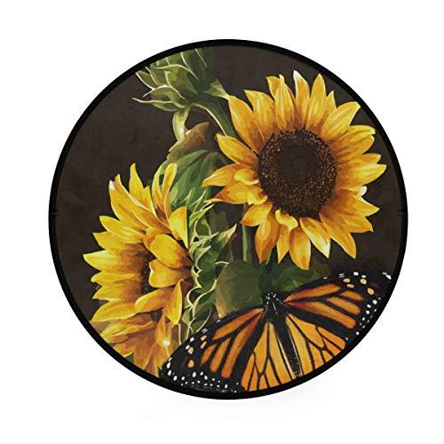 CPYang Teppich, Blume, Sonnenblume und Schmetterlinge, rutschfest, rund, für Wohnzimmer, Schlafzimmer, Flur, Dekoration, Durchmesser 92 cm