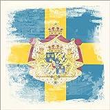 Posterlounge Alu Dibond 120 x 120 cm: Flag of Sweden in Grunge Style di Christian Müringer Illustration Art