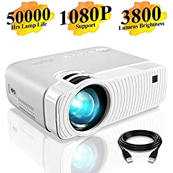 Mini Vidéoprojecteur, ELEPHAS 3800 Lumens Projecteur Portable Soutien 1080P Rétroprojecteur Compatible USB/HD/SD/AV/VGA pour Home Cinéma, Durée de Vie Jusqu'à 50000 Heures, Blanc