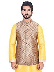 Manyavar Men Beige Designer Nehru Jacket (Medium)