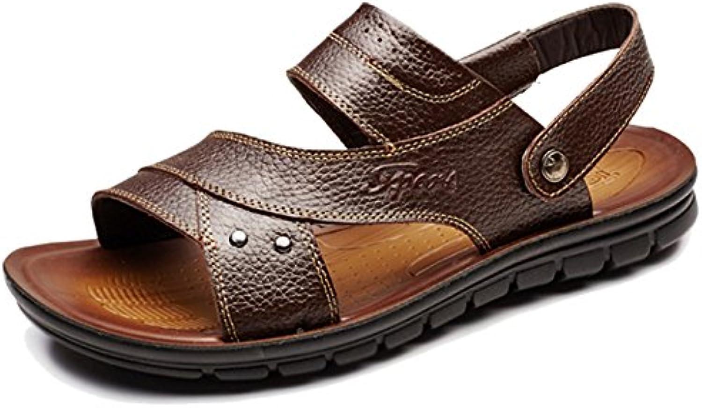 MERRYHE Zapatos De Piscina para Hombre Slip De Cuero Real En La Playa Sandalias Senderismo Zapatillas Zapatillas...