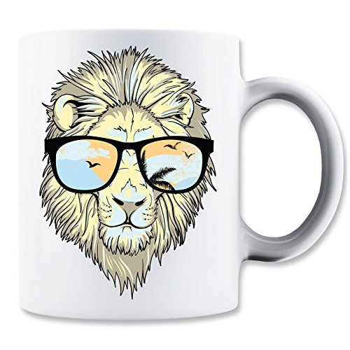Funny Lion With Sunglasses Klassische Teetasse Kaffeetasse