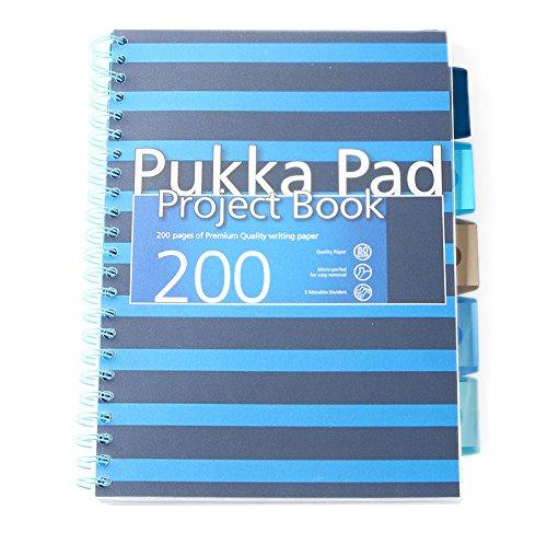 Pukka Pad A4Cahier de projet 200pages avec 5intercalaires-Bleu Marine Nouvelle Gamme