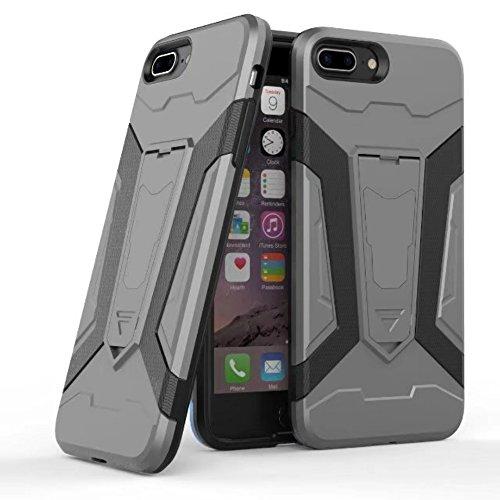 UKDANDANWEI Apple iPhone 7 Plus Hülle, 【Armor Man】Hybrid Armour Tough Stil Dual LayerDefender PC Bumper Handyhülle Cases mit Ständer [stoßfest Fall] für Apple iPhone 7 Plus - Schwarz Grau