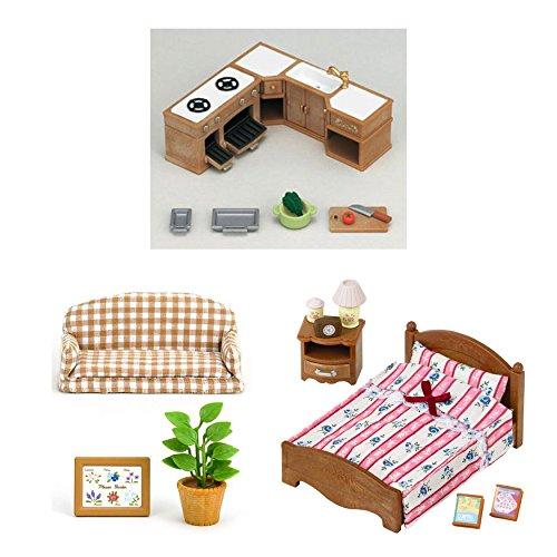 3conjuntos de Sylvanian Families-interior muebles-armario de cocina, silla de exterior reclinable y semi-double