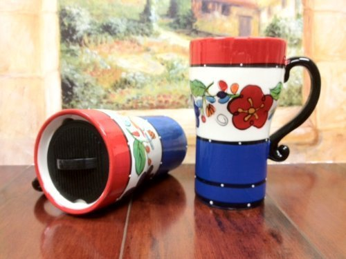 Viva Collection, Fleur De Lis,Hand Painted Ceramic Travel 1-Piece ,Mug 6-1/4\