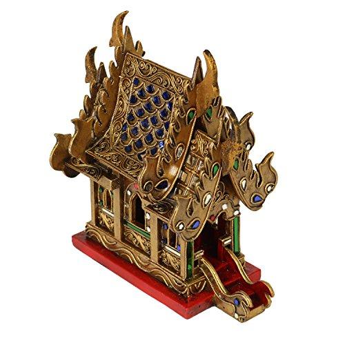 Oriental Galerie Geisterhaus Schrein der Erdgeister SanPhra Phum Geisterhäuschen Naturgeister Thailand ca. 25 cm Gold Rot mit Blauen Spiegelsteinen Holz