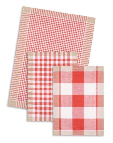 3-er Pack Jacquard Geschirrtuch, Halbleinen, TRIOLINO®, Karo sortiert, rot, 50x70cm