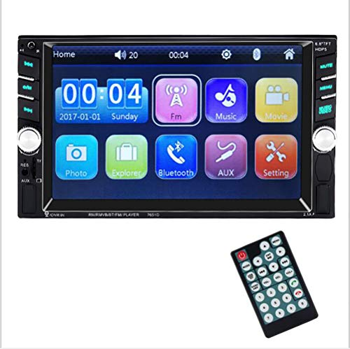 TTK Auto Autoradio kompatibel mit Bluetooth 7-Zoll-Doppel-Din-TF-USB-FM-Aux-In-Radio-Audio-Touchscreen MP5-Player-Empfänger-Backup-Rückfahrkamera