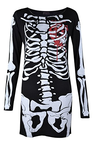 Damen Halloween Skelett Herz Figurbetonende Kustüm Party Tunika-Kleid