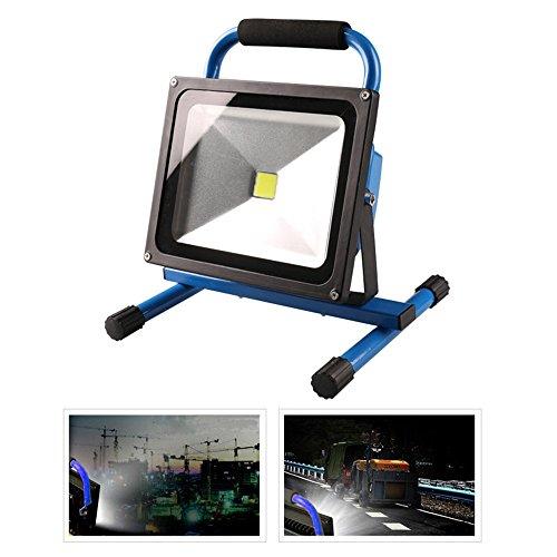 MCTECH® 50W Warmweiß Blau Handlampe LED AKKU Arbeitsscheinwerfer Beleuchtung Outdoor Lampe Flutlicht