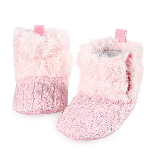 Arshiner Tiefel Kleinkind Mädchen Fleece Woollen Pelz strickte Schneestiefel Pink