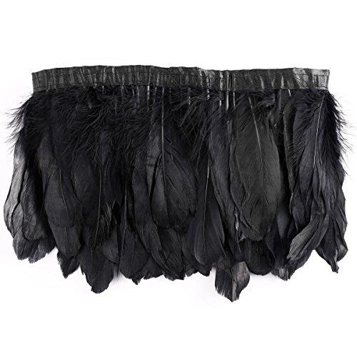 CLE DE TOUS - Fleco de Pluma Ganso Grande 17cm de largo Longitud 200cm Color Negro para fiesta halloween Decorar Ropa Vestido boda baile