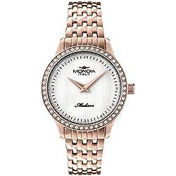 Reloj Mondia Italy Reloj mujer–cuarzo Miyota 2025–Esfera Blanco Madre Perla con Index–bisel con circonitas–pulsera de metal.