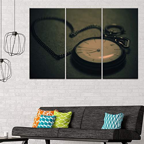 MMLFY 3 Leinwandbilder 30x40cmx3pcsWandkunst Leinwand Malerei Wohnkultur 5 Panels Vintage Taschenuhr Bilder Modulare HD Drucke Poster Wohnzimmer Rahmen Decor