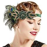 ArtiDeco 1920s Stirnband Damen Haarreif Gatsby Kostüm Accessoires 20er Jahre Flapper Haarband (Stil2 - Schwarz Pfau)