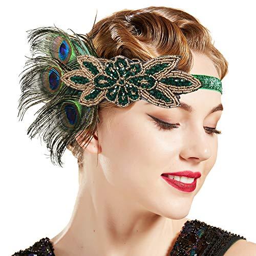 Pfau Stirnband Kostüm - ArtiDeco 1920s Stirnband Damen Haarreif Gatsby Kostüm Accessoires 20er Jahre Flapper Haarband (Stil2 - Schwarz Pfau)