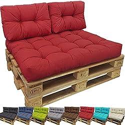 PROHEIM Coussin Lounge II pour Palette Europe - Coussin pour Sofa en Palette r�sistant aux �claboussures (Pas Un Set), Couleur:Rouge, Variable:1 Coussin de Dossier 60 x 40 cm