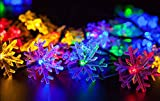 Stoog Snowflake Solar Fairy String 30LED Light for Outdoor Décor Wedding Backyard Christmas Decoration Waterproof Bright Wall Lamp Garden Fence Patio Deck Yard Walkway Driveway Stairs Outside Wall (Colorful)