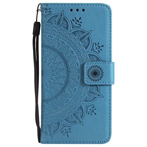 (Pheant Motorola Moto G6 Hülle Schutzhülle Blau Klapphülle mit Standfunktion Kartenfach und Magnetverschluss Sonnenblume Prägemuster Design PU Leder Tasche Silikon Innenschale)
