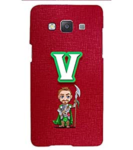 YuBingo Designer Printed Plastic Mobile Back Case Cover Panel for Samsung Galaxy A3 (2015) ( Vibrant Letter V (Macho Man Comic Knight Printed on Plastic) )