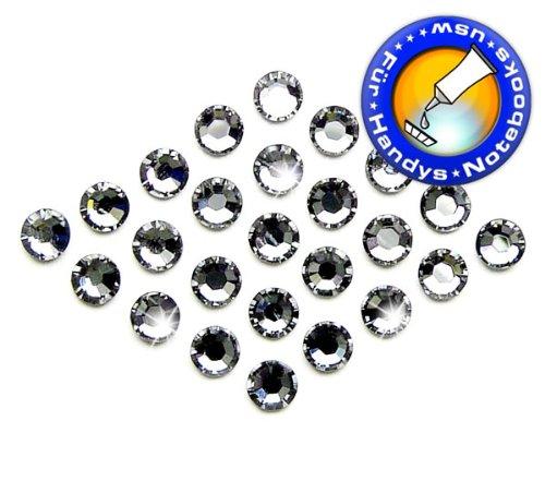 Swarovski 50 Stück Elements 2058 XILION - Kein Hotfix, Farbe Crystal Silver Night, SS5 (Ø ca. 1,8 mm), Strass-Steine Zum Aufkleben