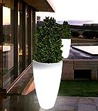 point-garden Blumenkübel Pflanzkübel Pflanzgefäß weiß beleuchtet Designerleuchte Höhe 90cm