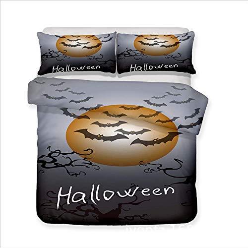 SHJIA Halloween Bettwäsche Set Digital Bedruckte Schädel Bettbezug Kissenbezüge Twin Full Queen King B 180x210cm -