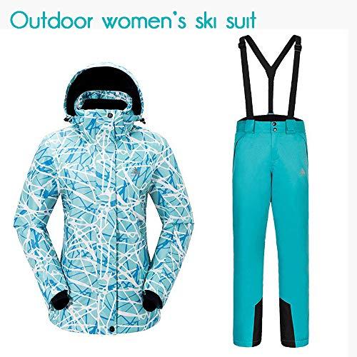 Traje de Esquí Conjunto Chaquetas y Pantalones de esquí para Mujer, Impermeable a Prueba de Viento...