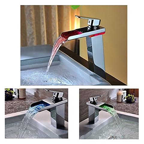 KINSE® Elegant LED RGB Waschtischarmatur Wasserhahn für Waschtisch Spüle für