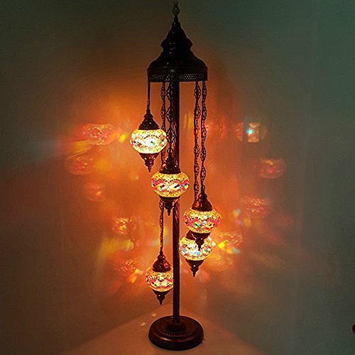 Turkish Moroccan Tiffany Style Glass Mosaic Floor Lamp Night Light - MC19 X 5 Bulb Floor Lamp