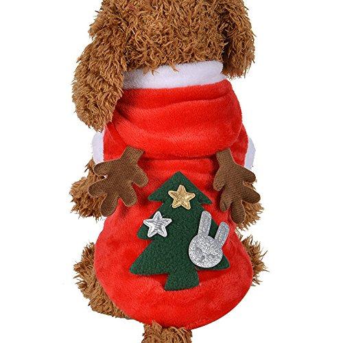 Sweatshirt Mit Kapuze Mantel Kleidung Pullover Haustier Welpen T-Shirt Weste Hund T Shirt Kleid Weihnachten Süß Elch HundekostüMe Coats Haustierkleidung ()