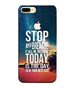 PrintVisa Designer Back Case Cover for Apple iPhone 7 Plus (Logo View Window Case) (Greeting Graphic Design Backcover Wallpaper White)