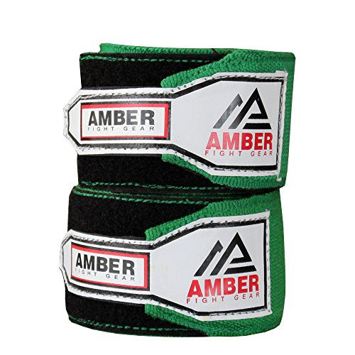 Amber Fight Gear 3M Elastic Hand Wraps for MMA & Boxing (Pair) Green (Mma Fight Gear)