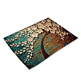 Decdeal Oil Painting Pattern Polyester Placemat Heat-Resistant Stain-Resistant Anti-Slip Table Mat Bowl Coaster Dining Tableware Pad for Dining Table
