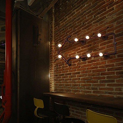 8 Lampe Vanity Licht (Seeksung 8-Piece Vintage Industrielle Eisen Rohr Halterung Wasserrohr Wandleuchte Vintage Beleuchtung Home Decor Bar Treppen Edison Steampunk Wandbeleuchtung E27 Mit Lichtquelle , A)