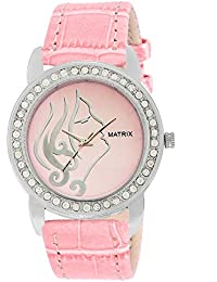 Matrix Pink Dial & Pink Leather Strap Analog Watch with Stone Studded Work For Women's/Girls- (WN-2)