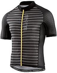 Skins Cycle lovecat X de Light Mens S/S Jersey Full Zip Pewter Stripe/Black, color negro, tamaño large