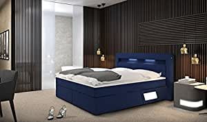 luxane boxspringbett 180x200 cm blaues polster bett in stoff mit integrierter led beleuchtung. Black Bedroom Furniture Sets. Home Design Ideas