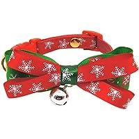 Luerme Collar de Navidad para Mascota Cuello Ajustable con Lazo Corbata y Campana, para Gato Perro Navidad Mascotas Suministros